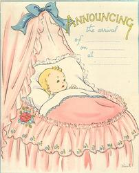 ANNOUNCING THE ARRIVAL OF __ ON __ AT __ baby left in pink bassinet, thin  blue border