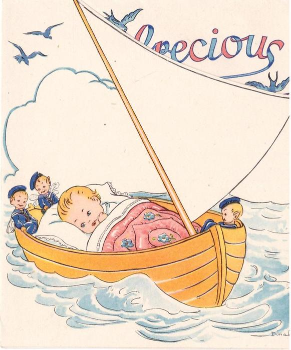 no front title, baby tucked in blankets floating at sea, 3 sailor fairies surround