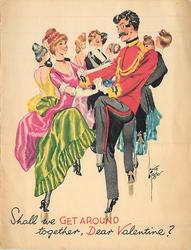 SHALL WE GET AROUND TOGETHER, DEAR VALENTINE? couples dancing, woman in green skirt & pink top left