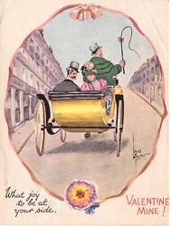 WHAT JOY TO BE AT YOUR SIDE, VALENTINE MINE! ovular inset: couple rides away in yellow coach, looking over shoulder