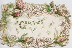 GREETINGS in mossy letters on cental white inset, red moss roses & leaves encircle inset