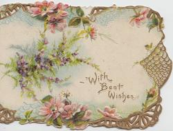 WITH BEST WISHES in gilt, pink & white wild roses in gilt design above & below, purple heather left