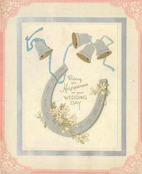 WISHING YOU HAPPINESS ON YOUR WEDDING DAY horseshoe below 4 bells & blue ribbon framed in silver, pink outer  border with flowers in corners