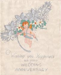 WISHING YOU HAPPINESS ON YOUR WEDDING ANNIVERSARY angel with orange hair and wings holds wishbone, perforated silver flowers