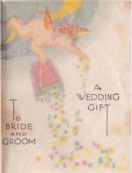 A WEDDING GIFT TO BRIDE AND GROOM angels tips box of confetti from clouds