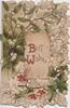 BEST WISHES(with B & W illuminated) on inset among mistletoe leaves & berries & berried holly
