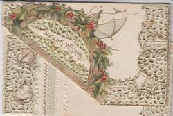 HEARTY WISHES on folded up corner of heavily perforated top flap, holly along card margins