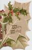 WARM WISHES (W's illuminated) on leaf shaped card, holly above & left