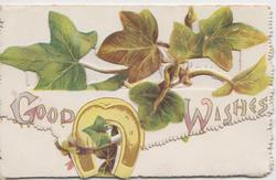 GOOD WISHES in gilt on perforated top flap, ivy leaves &  gilt horseshoe, ivy on bottom flap