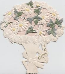 SOUVENIR, bunch of stylised silver ivy leaves & white daisies, card cut in shape of bouquet, white background