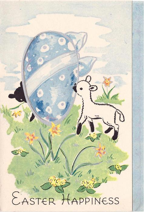 EASTER HAPPINESS white lamb in field with flowers, large egg shaped window that black lamb peers around