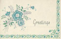 GREETINGS teal & silver flowers left, floral border design on half of card