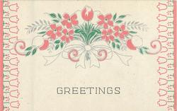 GREETINGS pink floral bouquet centre, side tulip borders
