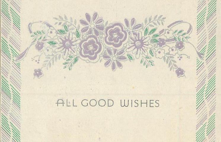 ALL GOOD WISHES  lilac & silver flowers centre, striped side borders