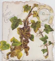 A HAPPY CHRISTMAS upper left, ivy, GOOD LUCK  on back-seen from front,  FOR AULD-LANG-SYNE on back of left flap