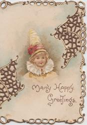 MANY HAPPY GREETINGS below head & shoulders of girl in white looking front