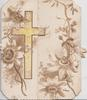 no front title, passion flowers, ginkgo leaves & yellow cross on narrow left flap, A HAPPY CHRISTMAS on fold behind