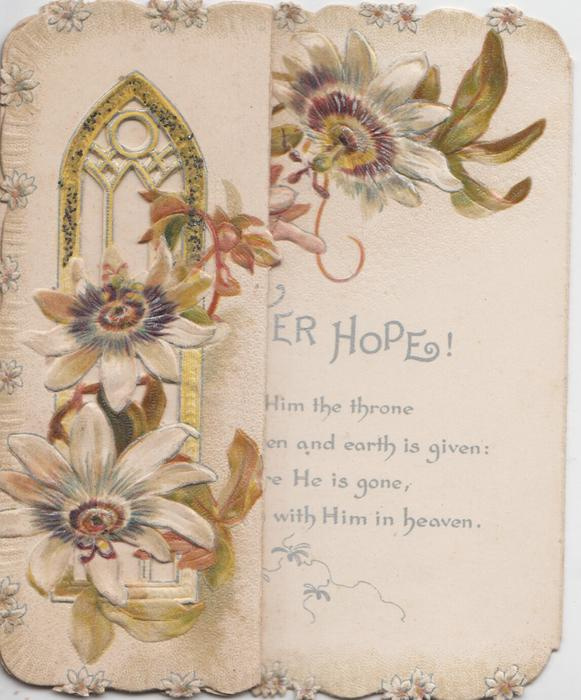 no front title, passion flowers before church window, double folded to reveal EASTER HOPES! in silver at right back
