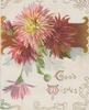 GOOD WISHES in gilt, pink & red chrysanthemums in front of horizontal brown design