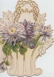 GREETING in gilt above pale purple chrysanthemums in designed basket