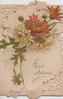 GOOD WISHES in gilt below yellow & bronze  chrysanthemums on perforated front