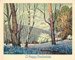 A HAPPY EASTERTIDE treed meadow with purple flowers, small mountain in distance