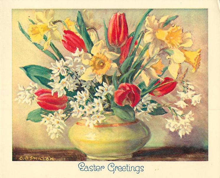 EASTER GREETINGS yellow vase with red tulips, yellow daffodils and small white flowers