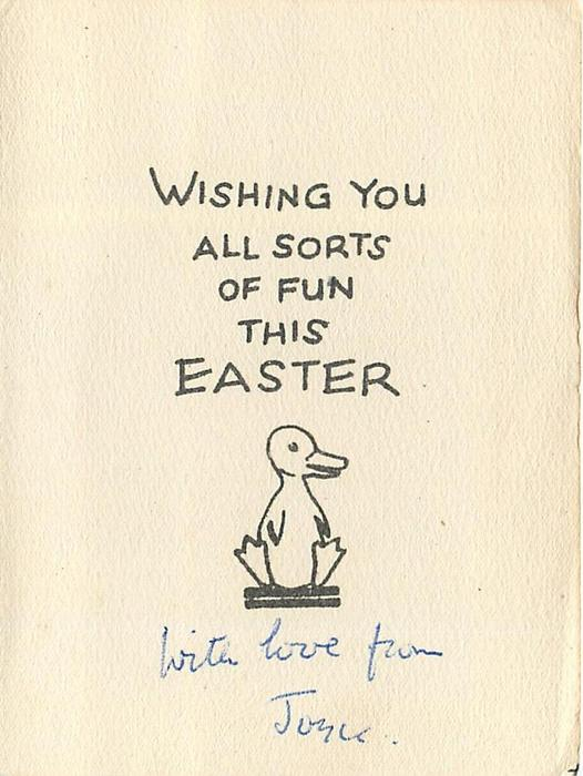 EASTER GREETINGS  duck wearing blue dress & bonnet holds mallet, duckling pops out of egg