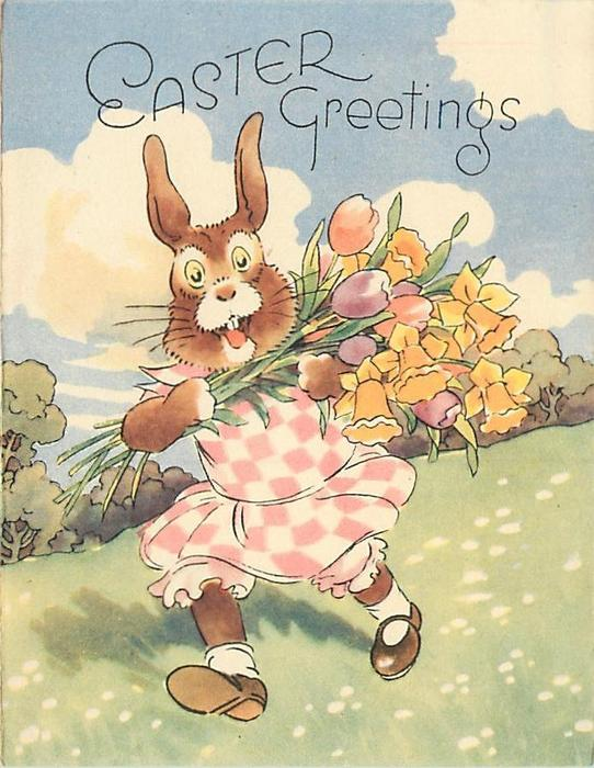 EASTER GREETINGS rabbit wearing checkered dress and shoes walks forward carrying flowers