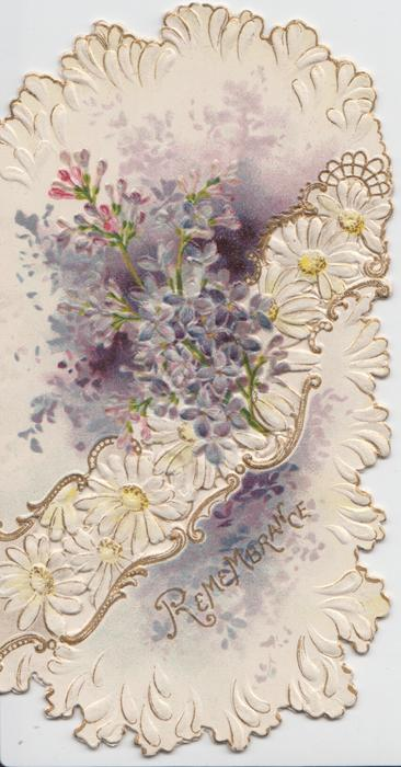 REMEMBRANCE in gilt below stylised  daisies, lilac above,  embossed
