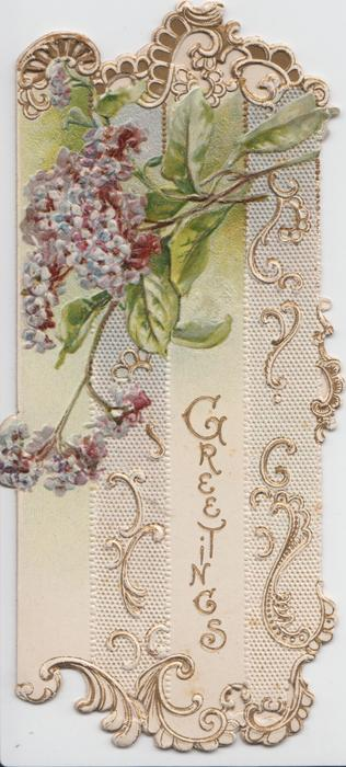 GREETINGS vertically in gilt. designed front in vertical strips, lilac above, embossed