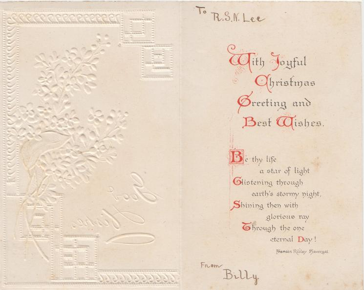 GOOD WISHES in white, white lilac right, designed grey & white background, embossed