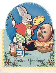 EASTER GREETINGS rabbit wearing red jacket and green checkered pants paints flowers on Easter egg, paint cans left