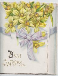 BEST WISHES in gilt, glittered daffodils above lilac ribbon on wide left & narrow right flaps & back