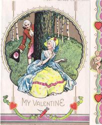 MY VALENTINE inset rural scene: woman sits in front of tree, man peeks around tree to greet her