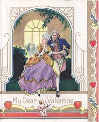 MY DEAR VALENTINE couple in old style dress walk forward outdoors, lit window behind, small cupid below on border