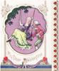 MY DEAR VALENTINE inset scene: woman on swing with gentleman right, lilac background