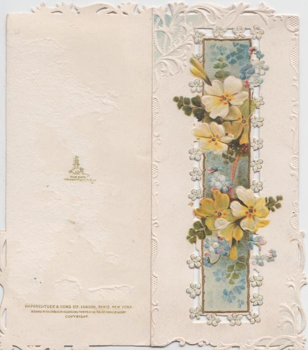 no front title, yellow primroses & blue forget-me-nots over central perforated panel, embossed