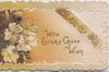 WITH EVERY GOOD WISH in gilt with  yellow  primroses  embossed on golden  perforated panel