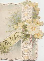 BEST WISHES in gilt left yellow primroses right, ginkgo leaves, perforated design,  embossed