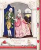 VALENTINE MINE man standing behind blue privacy screen receives letter from woman in pink dress, cupid below right