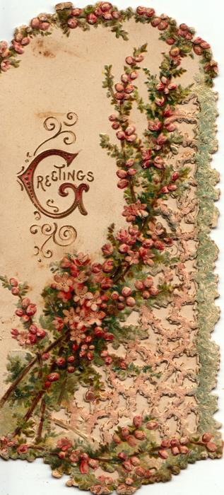 GREETINGS (G illuminated) in gilt on white background, purple heather around, perforated design lower right