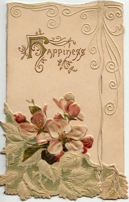 HAPPINESS (H illuminated) in gilt, pink & white wild roses below, embossed design above & right