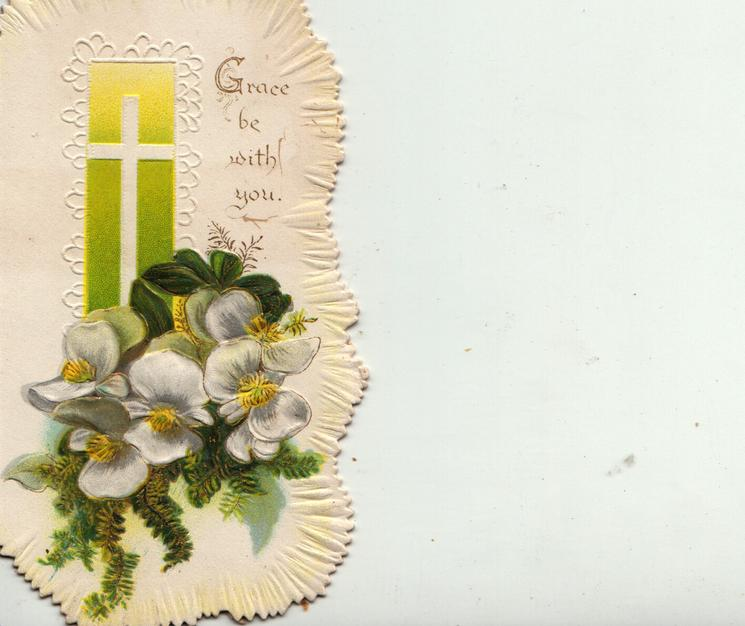 GRACE BE WITH YOU in gilt right of window with cross & green background, white begonias & evergreen below