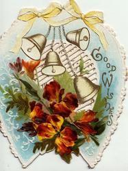 GOOD WISHES in gilt on pale blue horseshoe design with bells above bronze wallflowers