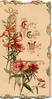 EVERY GOOD WISH (E,G,W illuminated) on white background, red & pink wallflowers beside & below