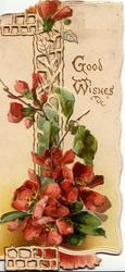 GOOD WISHES in gilt on white  background, red wallflowers in front of perforated design
