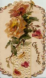 GREETINGS lower right, yellow & pink roses & bud above perforated design