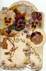 GOOD WISHES in gilt across both flaps below multi-coloured pansies & bells, embossed