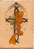 no front title, gilt & glittered cross below sun, stylised ivy leaves & yellow cloth ribbon